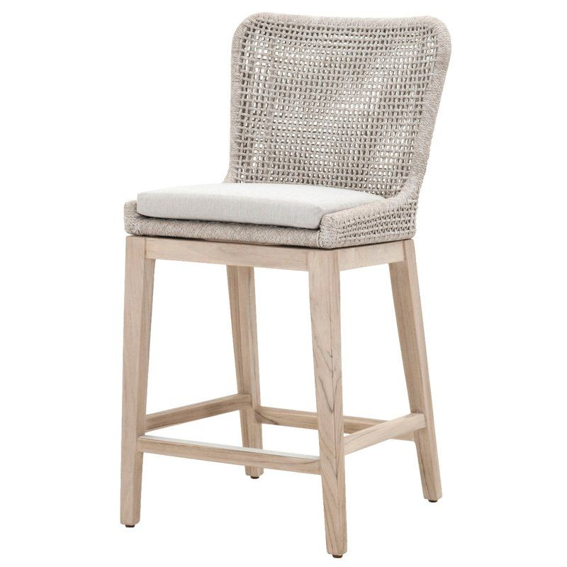 Bungalow Rose Cecil 26 5 Teak Bar Stool With Cushion Wayfair Counter Stools Furniture Stool