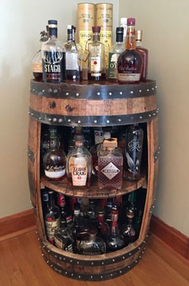 We Make Custom Barrel Store Displays From Real Oak Barrels These Are Reclaimed Wine And Whiskey Barrels For Shelves And B Barrel Furniture Barrel Bar