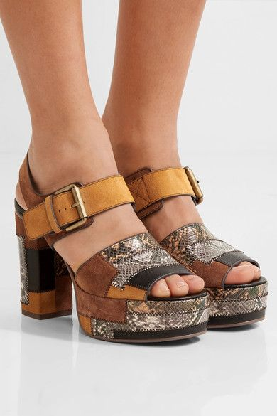 85494d807e41 Heel measures approximately 70mm  3 inches with a 35mm  1.5 inches platform  Multicolored snake-effect leather and suede Buckle-fastening strapLarge to  size.