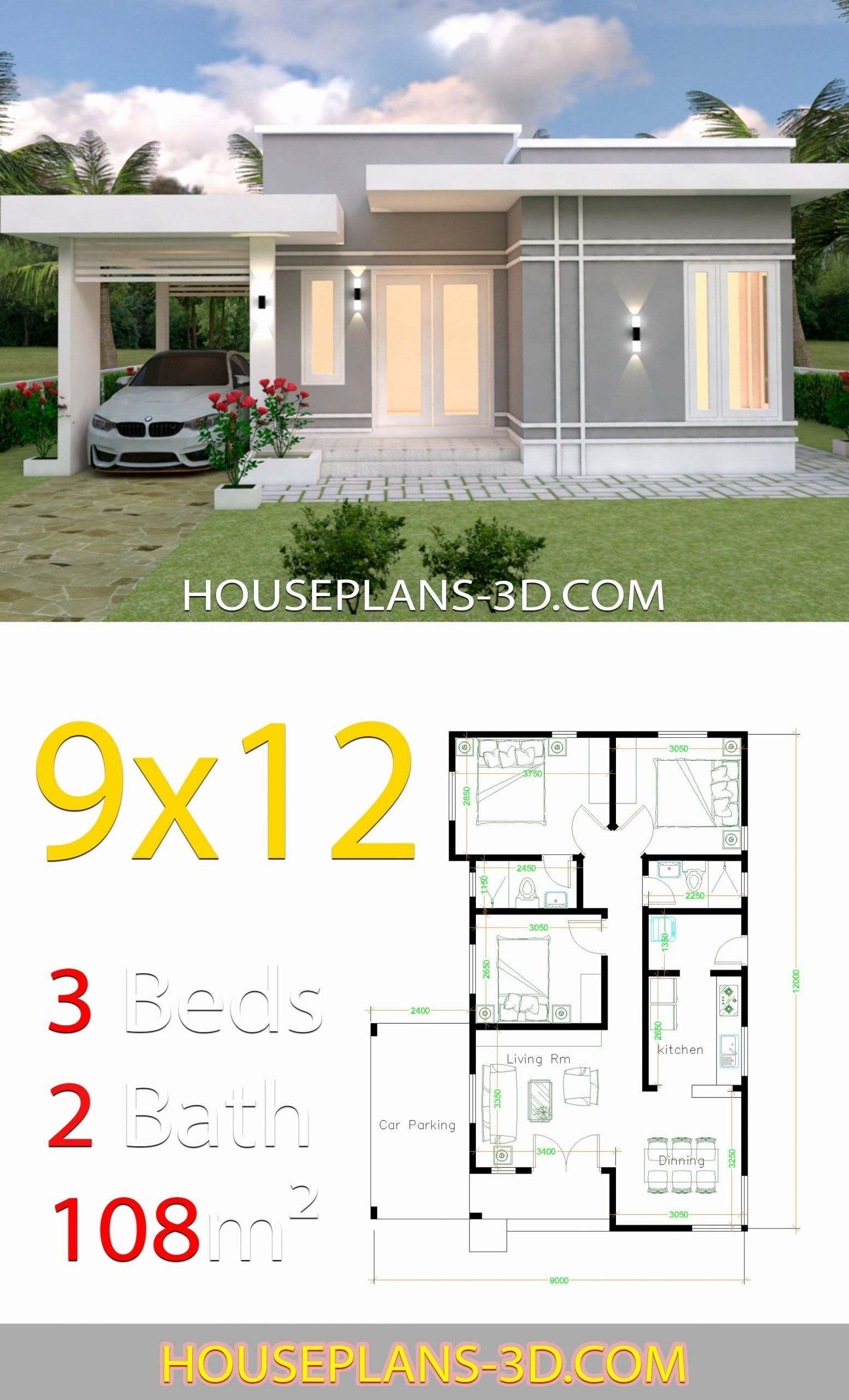 3d 3 Bedroom House Plans Fresh House Design Plans 9x12 With 3 Bedrooms Terrace Roof House In 2020 Guest House Plans House Construction Plan Architectural House Plans