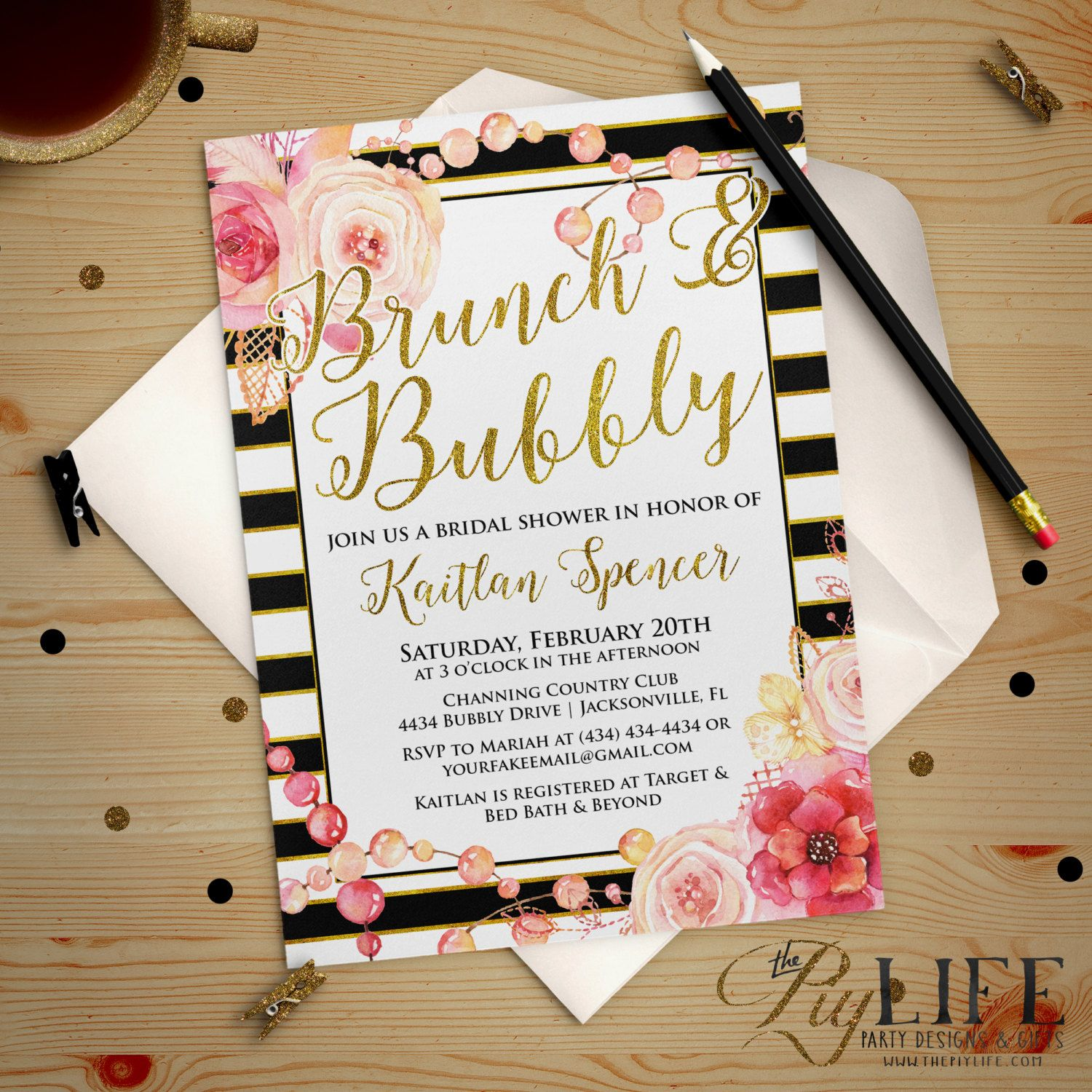 Good Floral And Gold Striped Bridal Shower Invitation Printable DIY No. I267