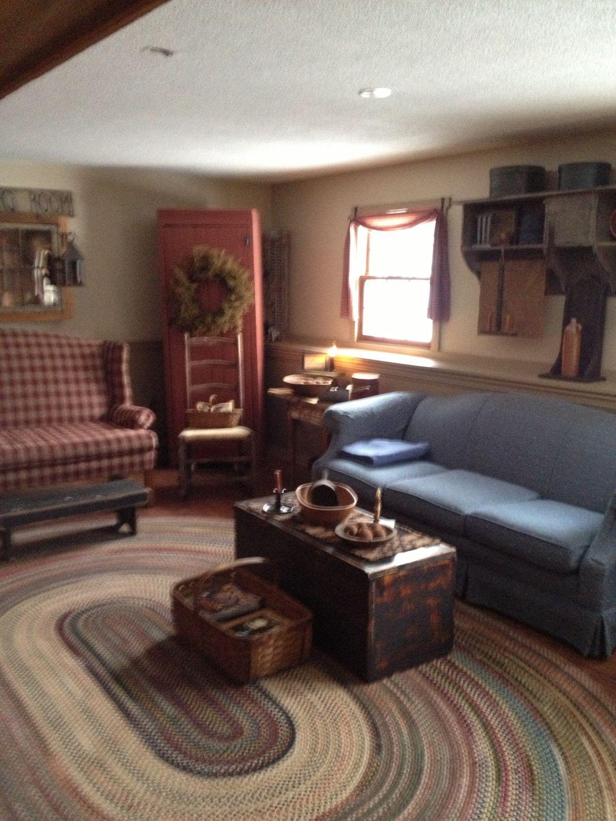 Pin by lisa boisvert on prim living rooms pinterest - Primitive country living room ideas ...