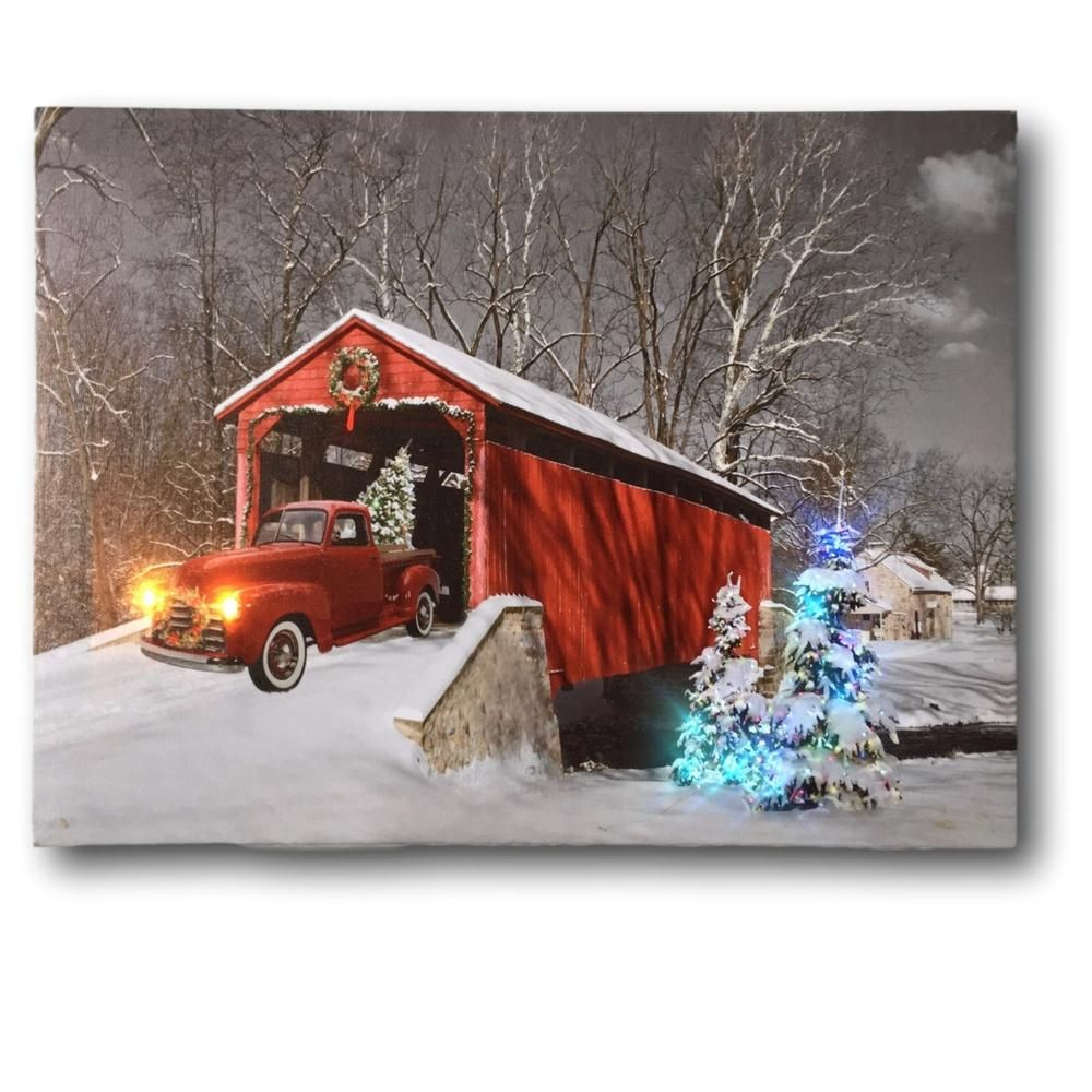 Red Truck Canvas Print Christmas Canvas Print With Led And Fiber Optic Lights Winter Scene Wall Art Christmas Canvas Christmas Red Truck Outdoor Christmas Decorations