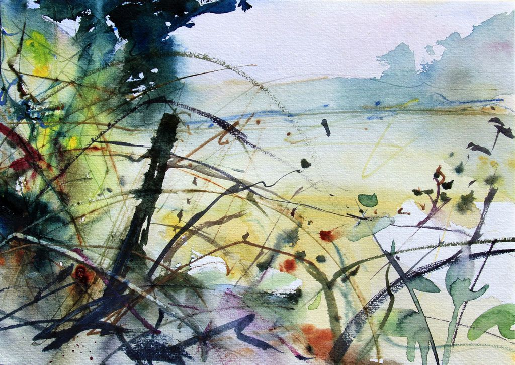 Field Corner With Brambles Watercolor Images Watercolor Art