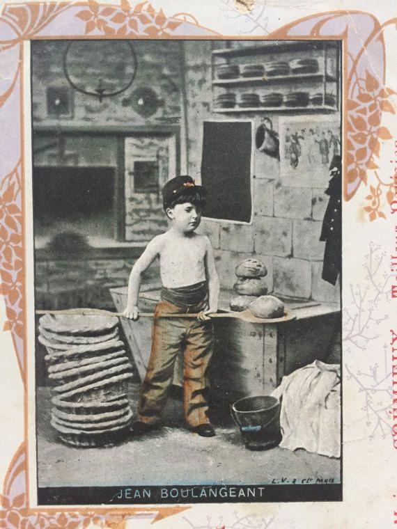 Jongetje brood bakken * Jean de bakker * 1905 reclame antieke Franse briefkaart Undivided terug