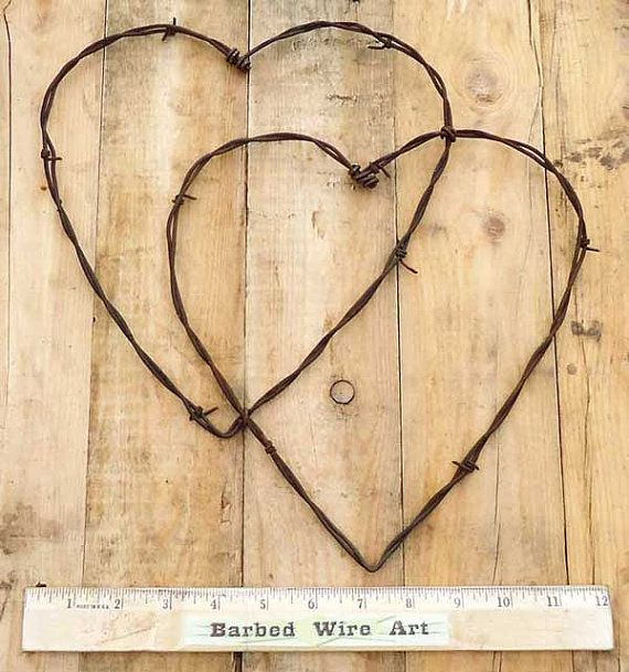 Double Hearts - FREE SHIPPING - Handmade metal decor barbed wire art ...