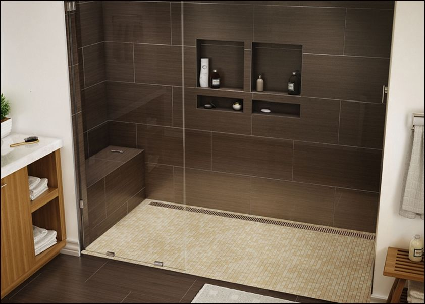 Tile Ready Shower Pan 30 X 60 With Images Brown Tile Bathroom