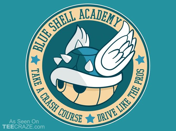 Blue Shell Academy T-Shirt - http://teecraze.com/blue-shell-academy-t-shirt/ -  Designed by fishbiscuit      #tshirt #art #fashion #mariobros
