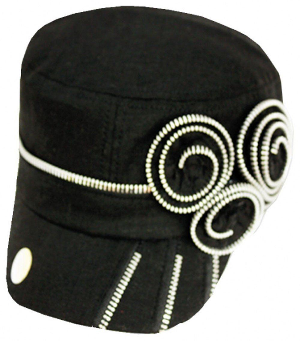 8c54a85c96026 Womens Zipper Rosette Linen Cadet Hat   Cap