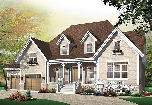 Plan de Maison unifamiliale W3434, Véritablement champêtre avec