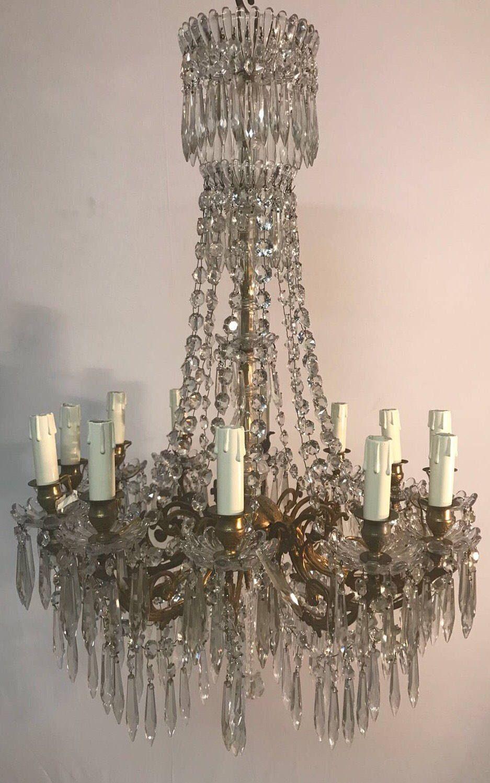 Vintage crystal chandelier murano chandelier empire chandelier vintage crystal chandelier murano chandelier empire chandelier italian luxury chandelier etsy shop https aloadofball Gallery