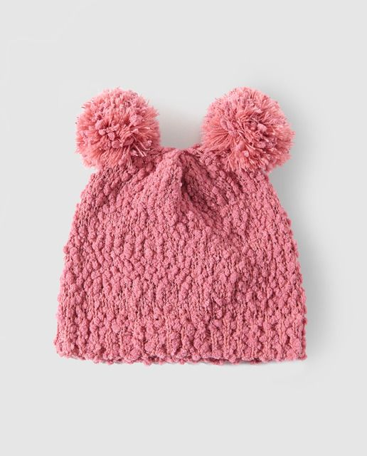 Gorro de chenilla de niña Freestyle con dos pompones rosa  92b425467de