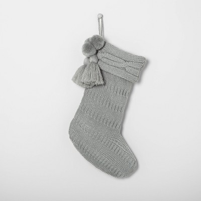 Holiday Knit Stocking Silver Green Hearth & Hand with