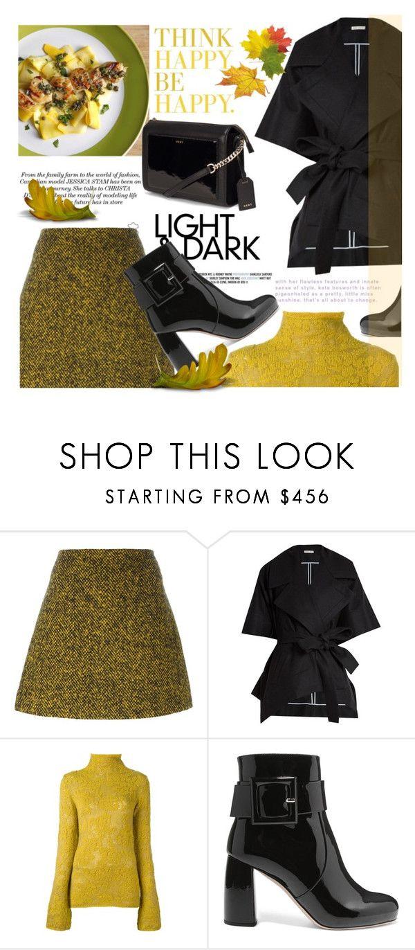 """Yellow and Black Mohair Skirt"" by samketina ❤ liked on Polyvore featuring Marni, palmer//harding, Etro, Miu Miu and DKNY"