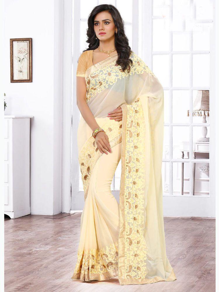 Designer Saree Bollywood Ethnic Wedding Sari Party Wear Stitched Blouse GJ