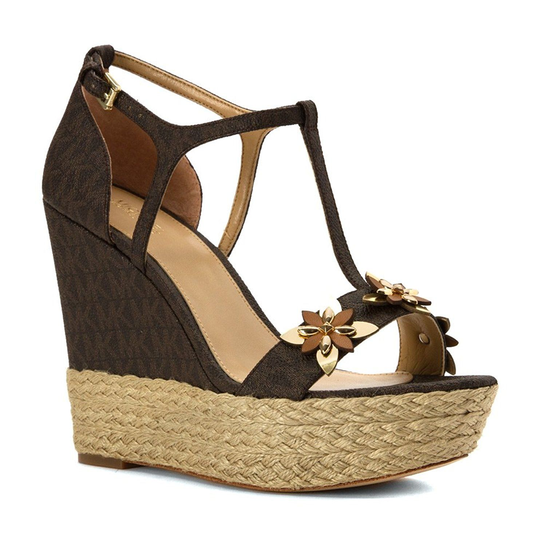 MICHAEL Michael Kors Women s Heidi Wedge Mini Logo Sandals Read