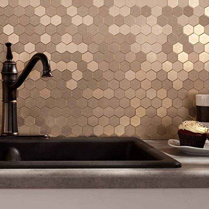 Amazon Com Aspect Peel And Stick Backsplash 12inx4in Honeycomb Champagne Matted Metal Tile For Kitchen And Bathrooms H Backsplash Home Wall Colour Metal Tile