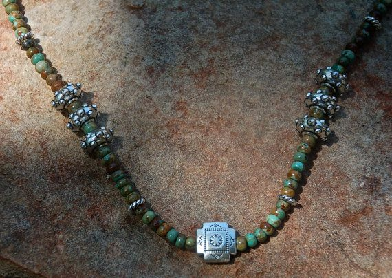 Turquoise necklace with pewter & silver beads Gifts by cherries33
