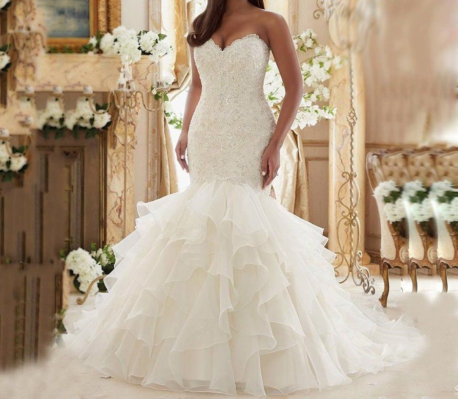 Lace Ruffled Plus Size Wedding Dresses at Bling Brides Bouquet ...