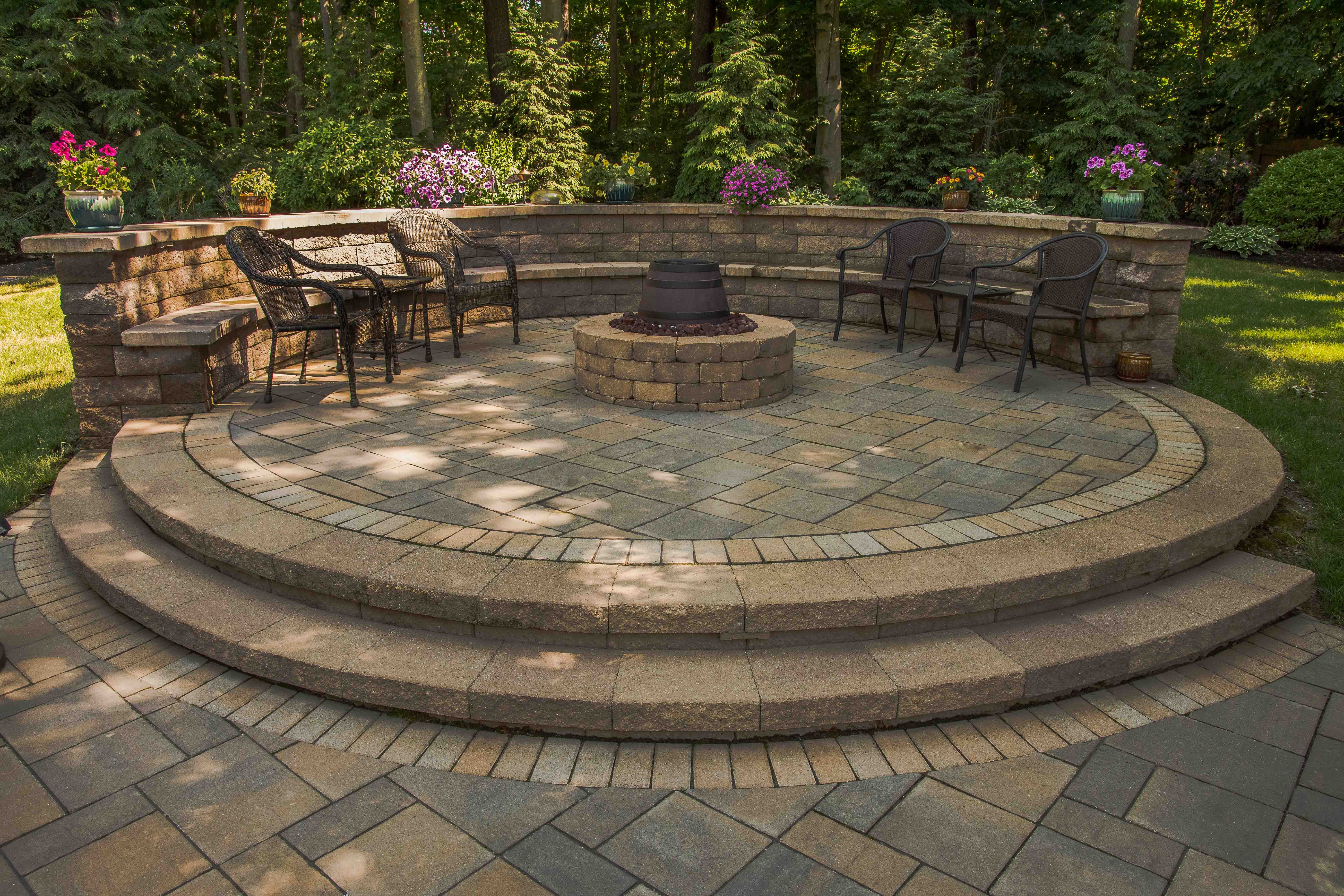 Raised paver patio | Gas Fire pit | Sitting wall with ... on Pavers Patio With Fire Pit id=72748