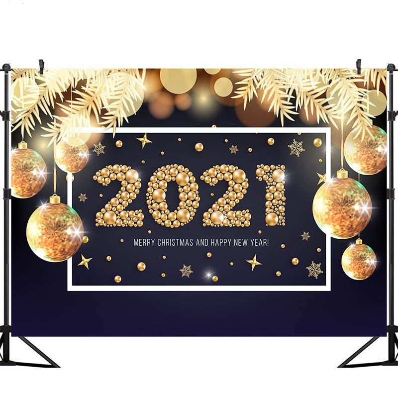 Christmas Party Near Me 2021 2021 New Year Party Backdrops Golden Christmas Ball Decoration Christmas Photography Background Backdrops For Parties Christmas Balls Decorations Christmas Photo Booth Props