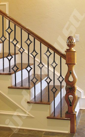Torneados Munoz Carved Newel Post Mod 14 Paired With Powder Coat Shapes Single Diamond Double Wrought Iron Stairs Wrought Iron Railing Stair Railing Design