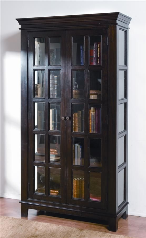 Carmel Curio Cabinet W Window Pane Glass Double Doors For The Home