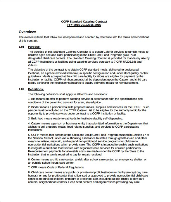 Catering Services Contract Pdf Template Free Download  Catering