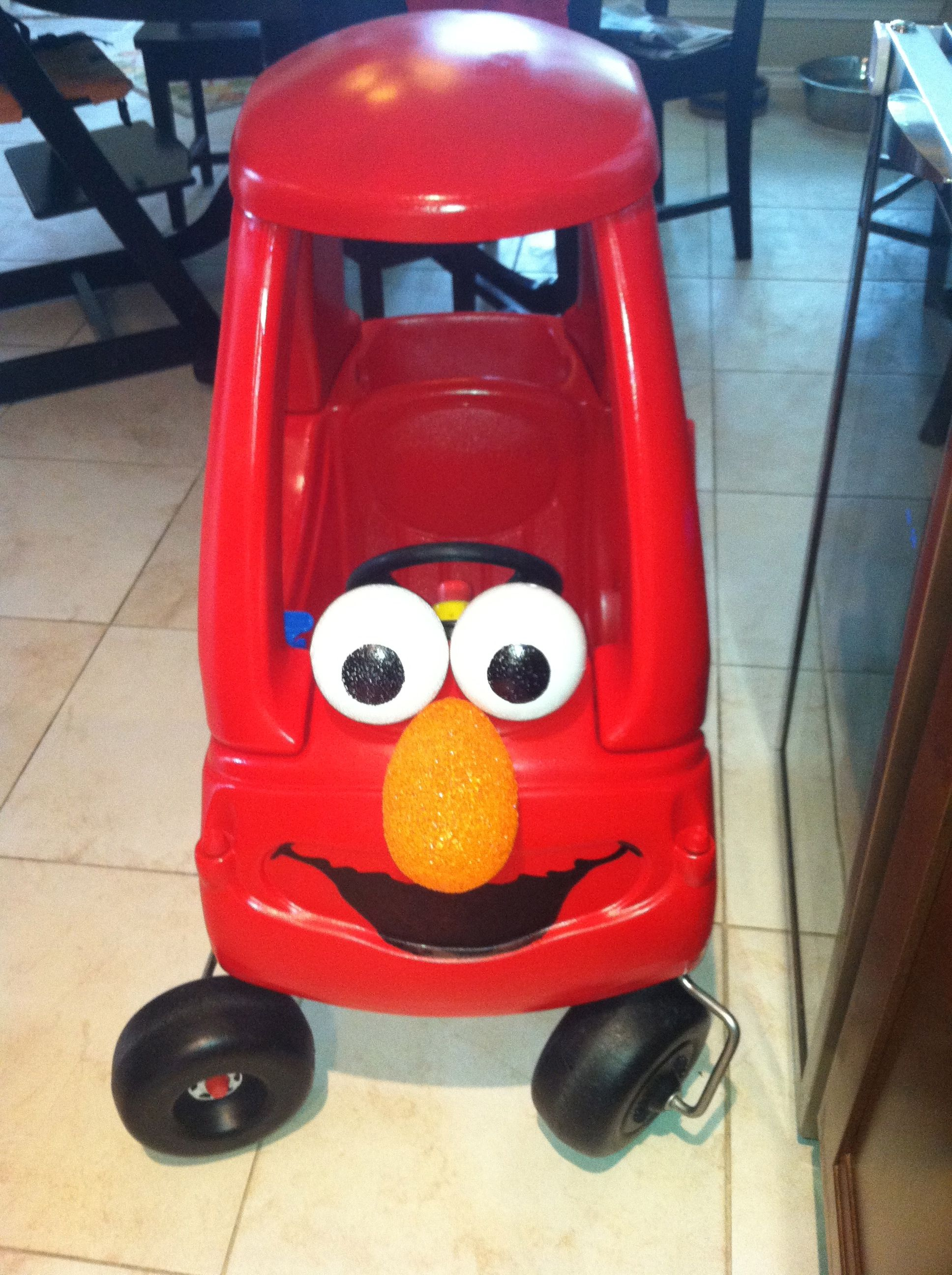 Elmo Car 8 Year Old Little Tykes Coupe Car Spray Painted -1046