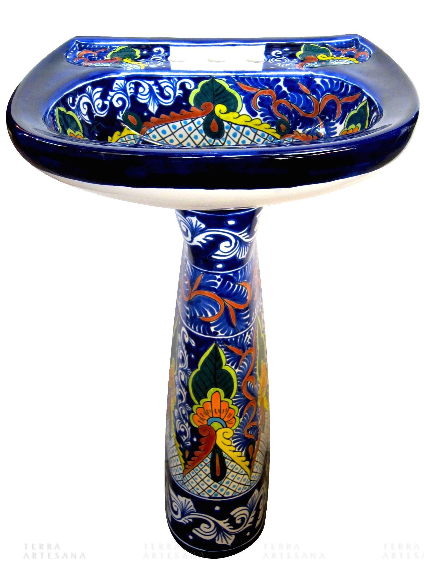 Puebla A Mexican Talavera Hand Painted Pedestal Sink Artist Unknown