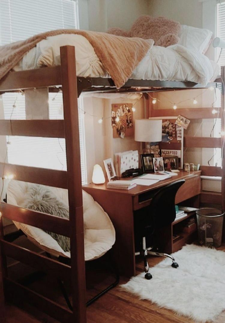 Dorm Room For The College Girl Desk Under Top Bunk Bed Cute Neutral Colors Lights Fuzzy Rug Dorm Room Designs Dorm Room Inspiration Dorm Room Decor