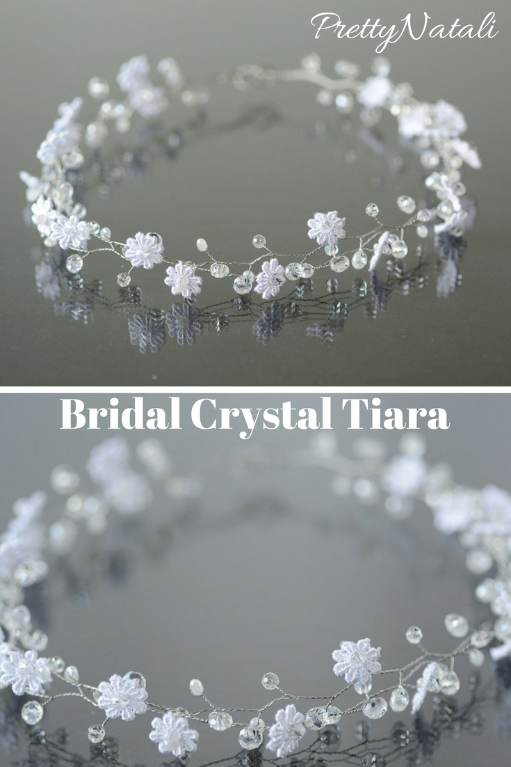 Bridal White Flower Crown Tiny Lace Flower Hair Wreaths Bridal