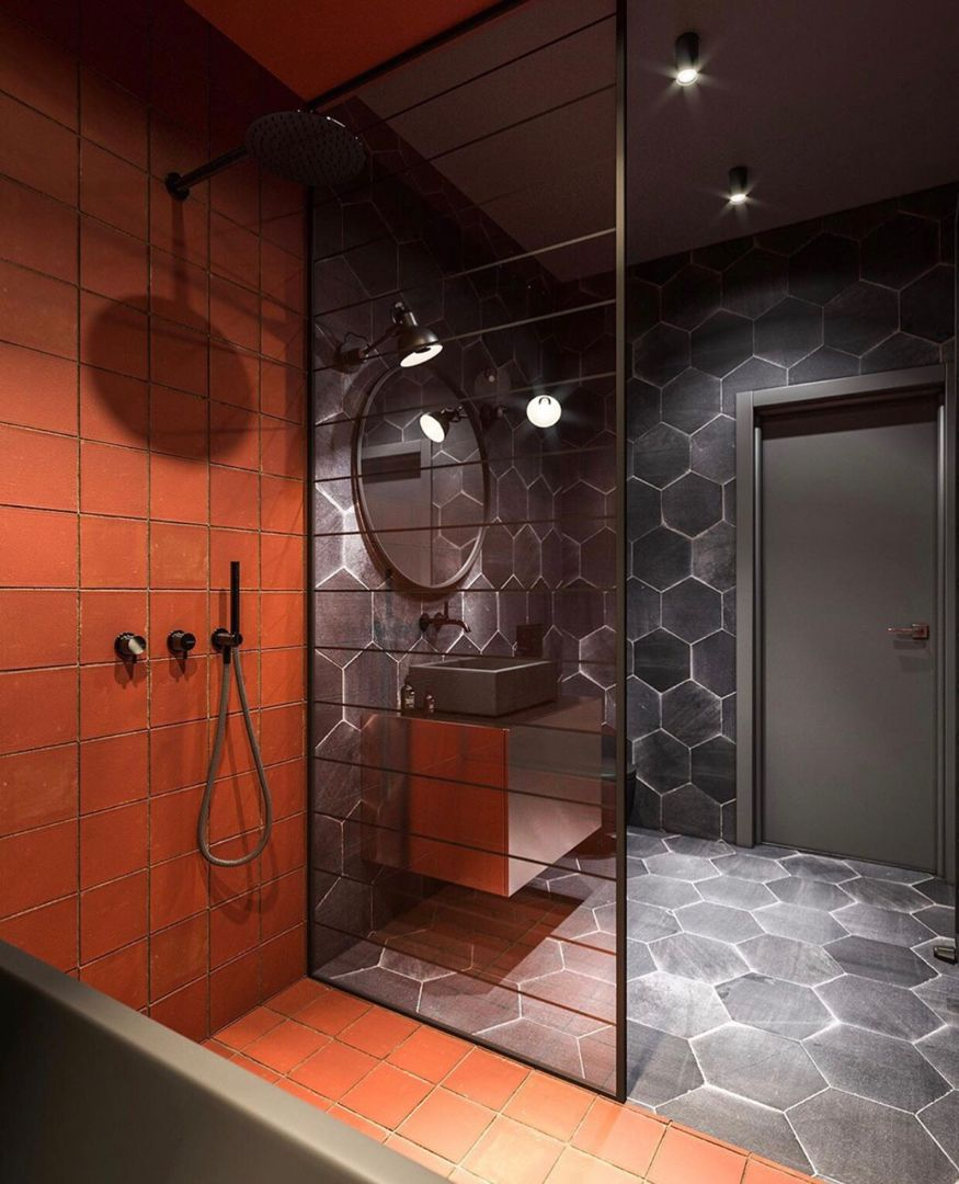 Black Orange Bathroom Is Designed And Visualized By Studio 3dm