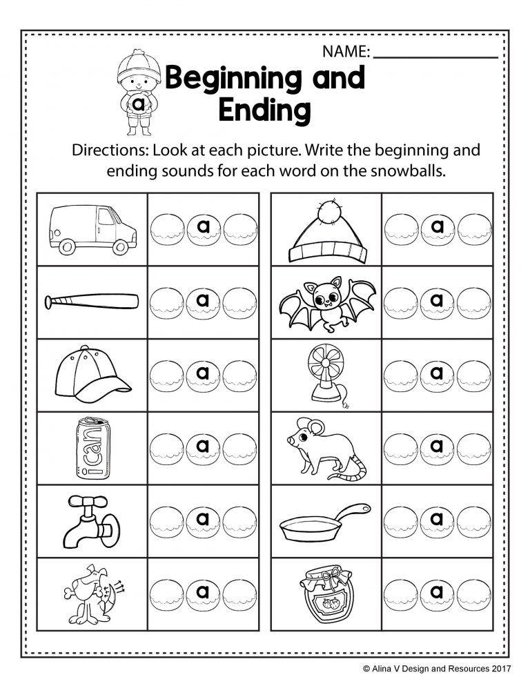 Beginning And Ending Sounds Worksheets Kindergarten