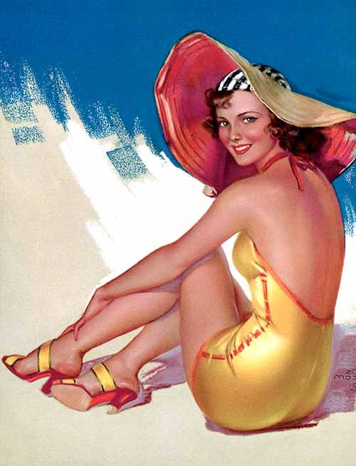 """A Mozert cover for """"True Confessions."""" She is said to have been influenced by the styles of male contemporaries Earl Moran, Gil Elvgren, George Petty, and Rolf Armstrong."""