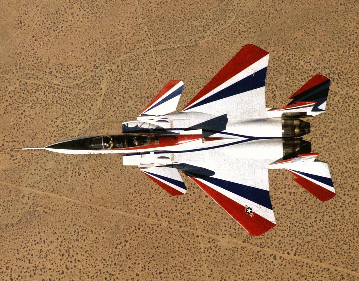 The F-15 ACTIVE prototype with thrust vectoring nozzles. This aircraft demonstrated short takeoff and quick-stop capabilities. It was also used to develop the Strike Eagle, and became the oldest flying F-15.