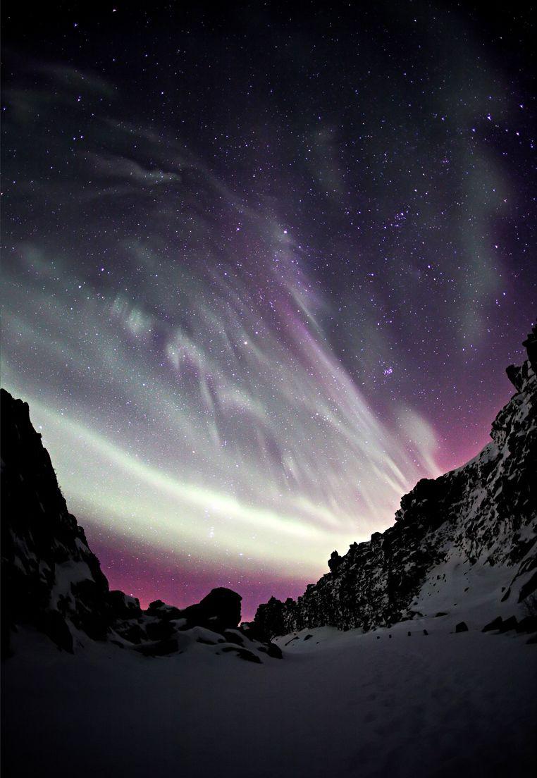 Purple Aurora Borealis by Arnar Valdimarsson