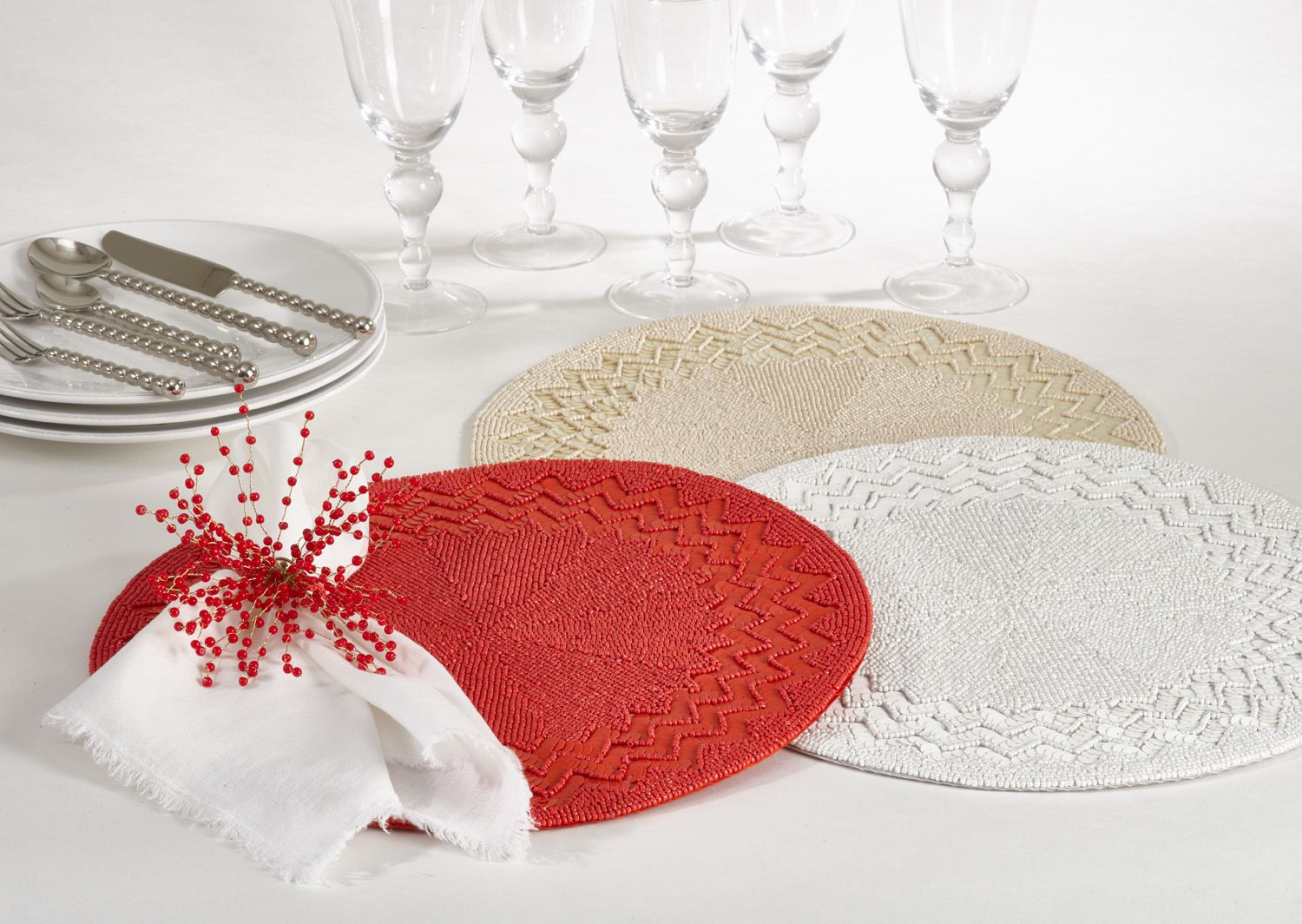 Siena Design Placemats In Coral Ivory White Placemats Table Linen Napkins Linen Napkins
