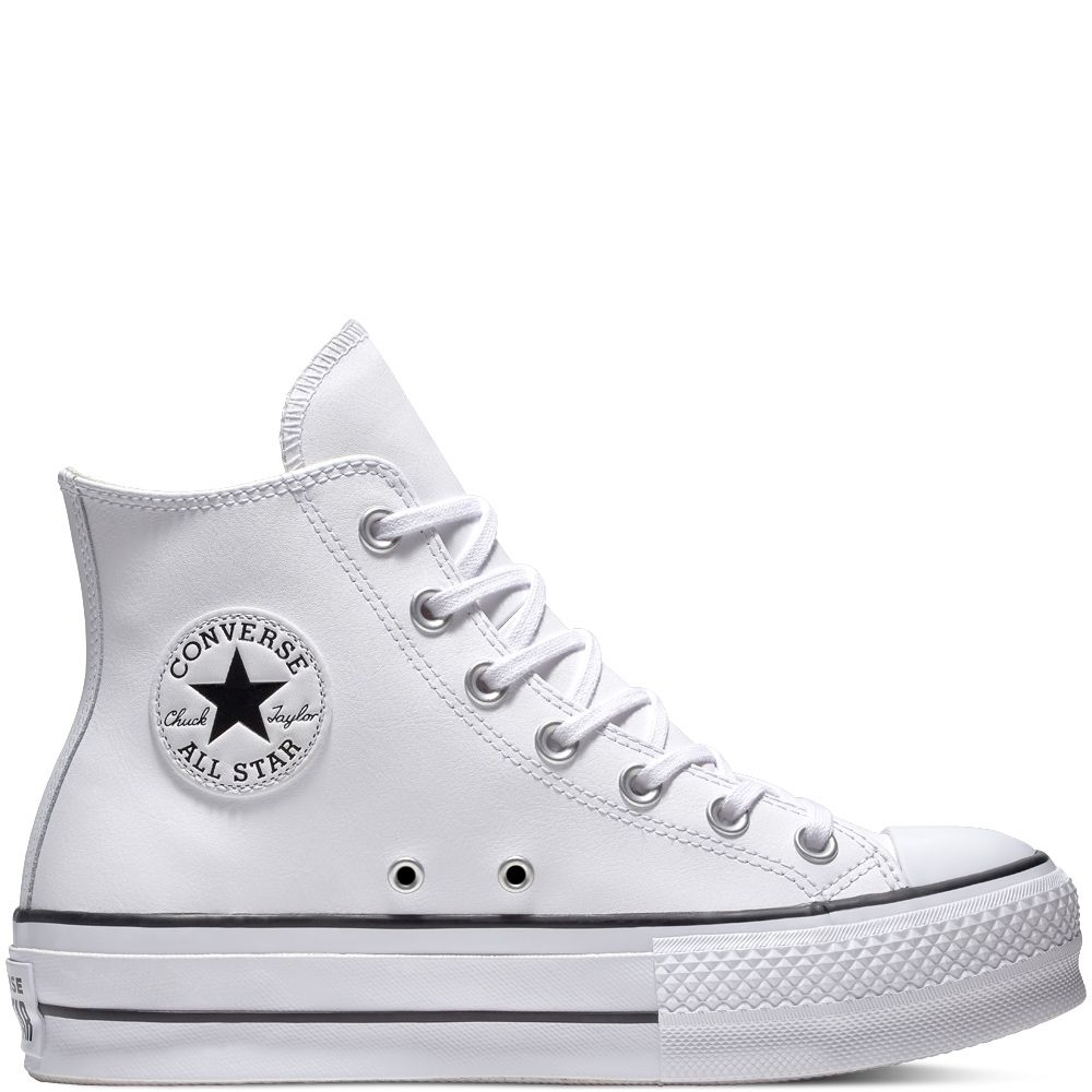 15c7095a8b9 Chuck Taylor All Star Lift Leather High Top White Black White