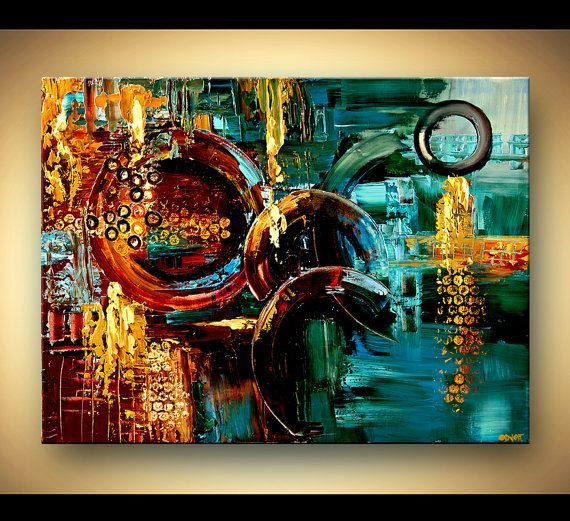 Original large colorful abstract painting textured modern for Textured acrylic abstract paintings