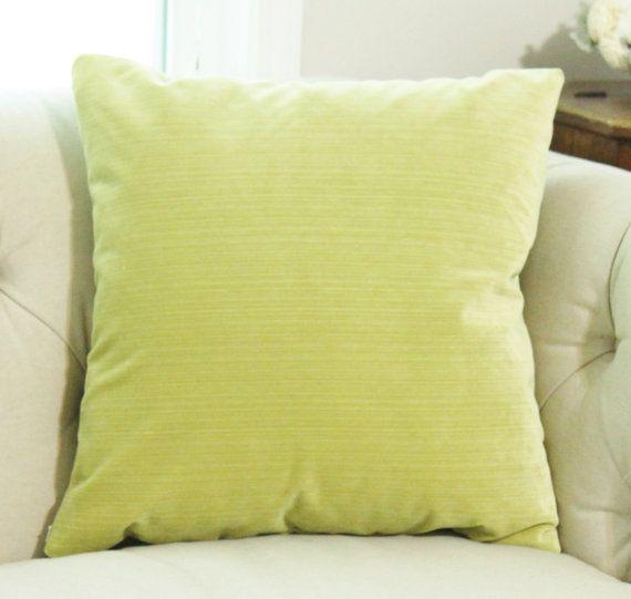 Chartruece Pillow  Lime Green Striped Velvet by MotifPillows
