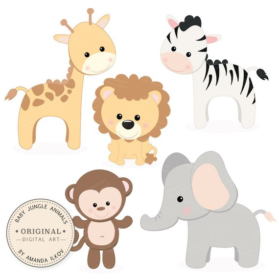 Professional Baby Jungle Animals Clipart & Vector Set ...