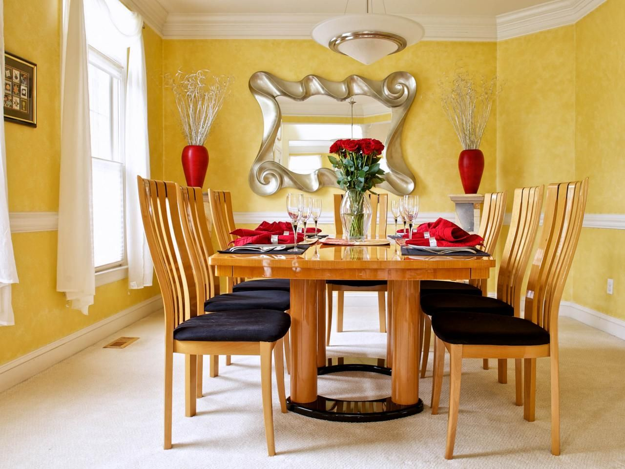 cool, contemporary bachelor pad | yellow dining room, room and spaces