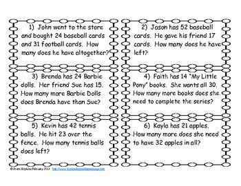 Addition and Subtraction Regrouping Word Problem Task Cards | TpT ...