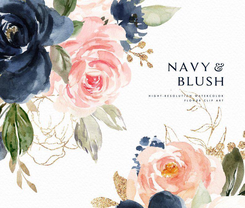 Watercolor Floral Clip Art Navy Blush Small Set Wedding