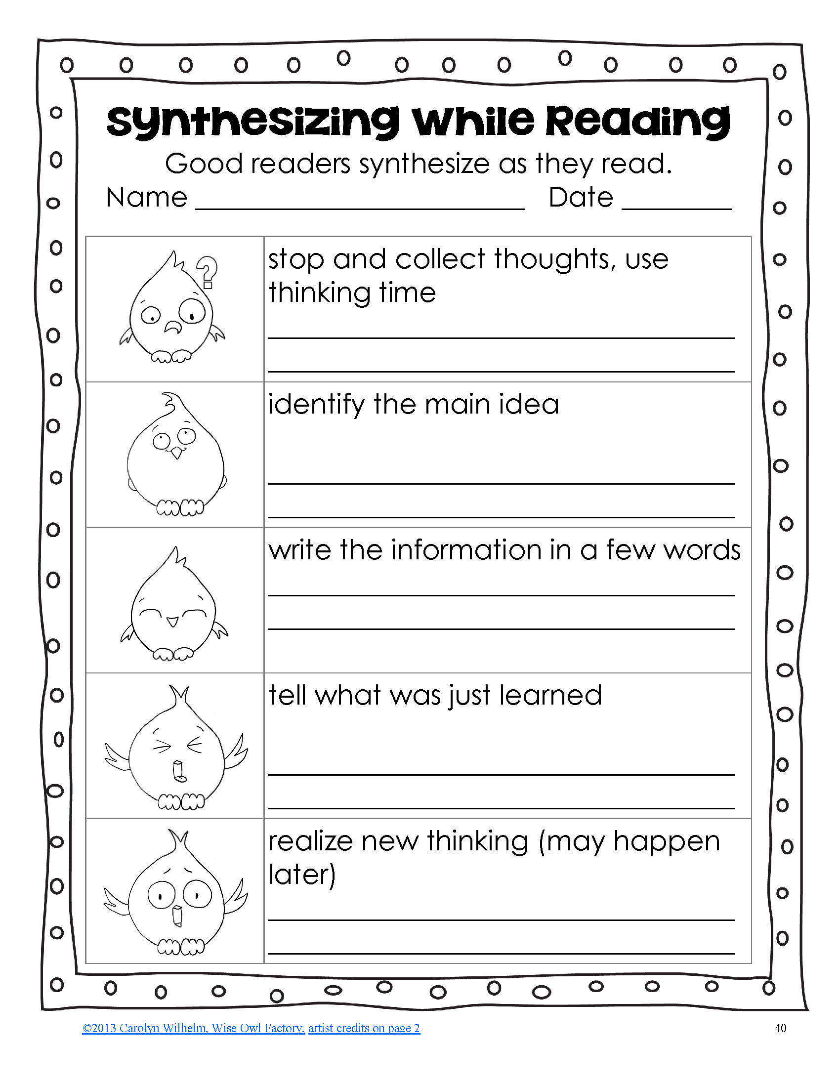 Synthesizing As A Reading Strategy Power Point Student