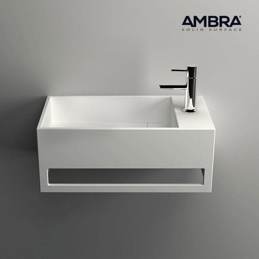 Lave Mains Suspendu Vasque Rectangle En Solid Surface 50 Cm Mona D Lave Main Lave Main Wc Et Lave Main Toilette