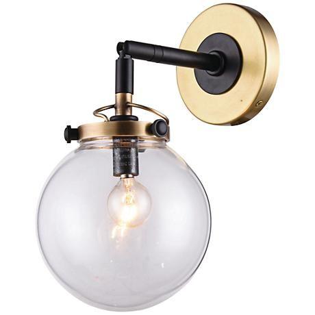 Elegant Lighting Leda 1 Light 6 Inch Burnished Brass and Flat Black Wall Sconce Wall Light  sc 1 st  Pinterest & Leda 13
