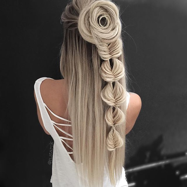 Image Of Artistic Flower Braid Hairstyles And Cute Styles Hair Styles Long Hair Styles Hair Makeup