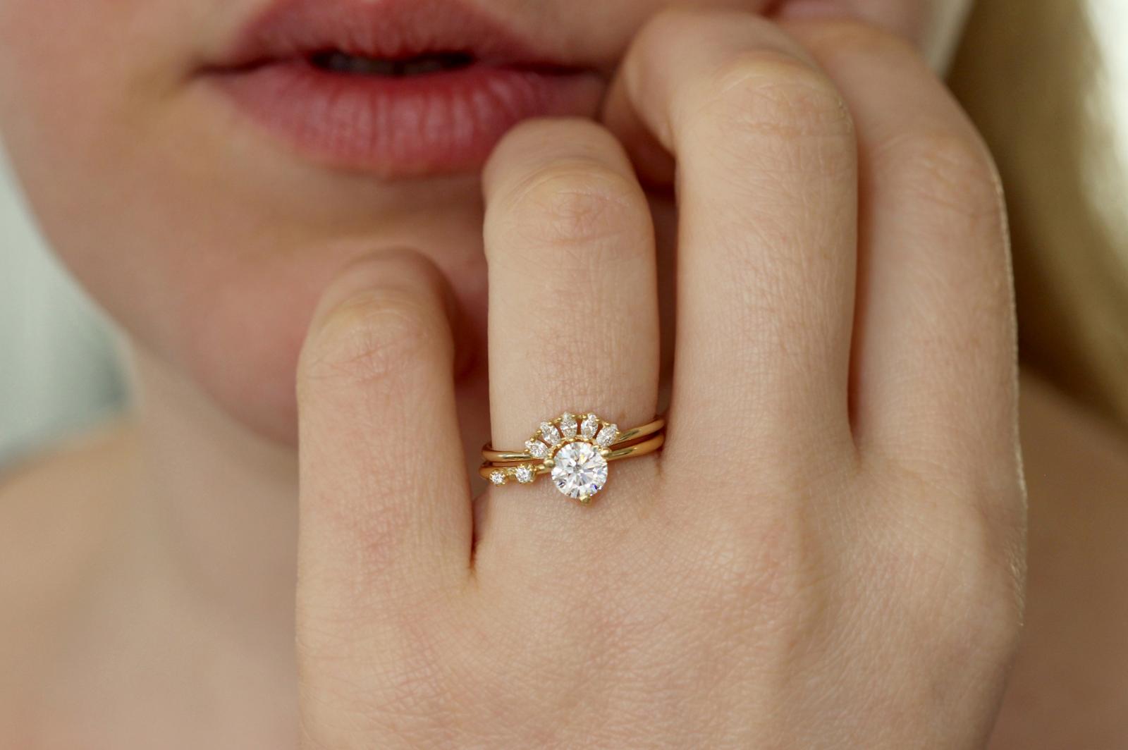 14k Rose Gold Genuine 1.20mm Round Diamond Double Petite Heart Ring